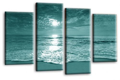 Sunset Seascape Canvas Picture Wall Art Beach Print Teal Cream